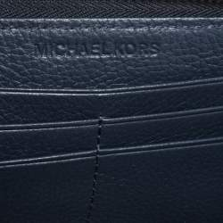 Michael Kors Blue Leather Jet Set Zip Around Wallet