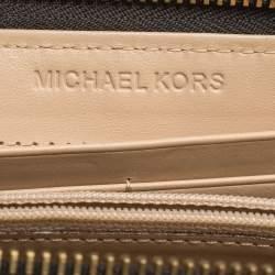 Michael Kors Brown Signature Coated Canvas  Zip Around Wallet