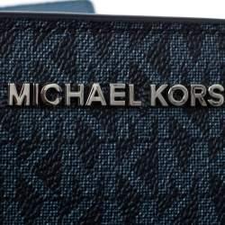 حقيبة مايكل كورس ترصيعات كيمبرلى جلد وكانفاس مقوى شهير زرقاء لونين
