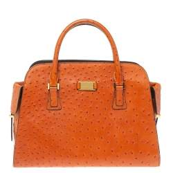 Michael Kors Orange Embossed Ostrich Leather Gia Satchel