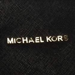 Michael Kors Black Leather Large Jet Set Travel Tote