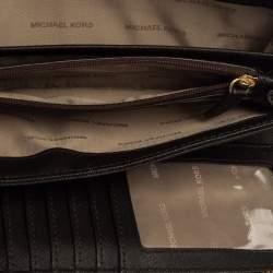 Michael Kors Brown Monogram Coated Canvas Zip Around Wristlet Wallet