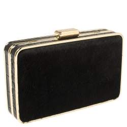 Michael Kors Black Pony Hair and Croc Embossed Leather Elsie Chain Clutch
