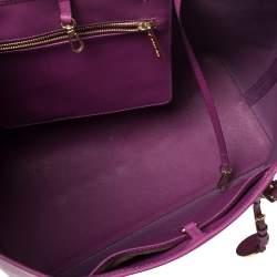 Michael Kors Purple Saffiano Leather Large Jet Set Travel Tote