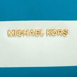 Michael Kors Blue/White Striped Coated Canvas Travel Jet Set Tote