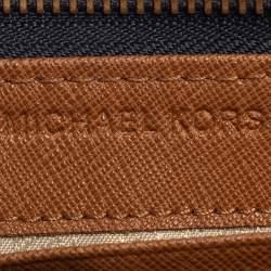 محفظة مايكل كورس سحاب ملتف جيت سيت جلد أزرق / أبيض