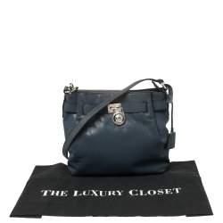 Michael Kors Blue Leather Hamilton Crossbody Bag