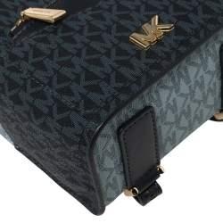 Michael Kors Blue Monogram Coated Canvas and Leather Mini Jessa Backpack