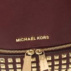 Michael Kors Burgundy Leather Small Studded Rhea Backpack
