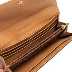 Micheal Kors Tan Leather Jet Set Travel Continental Wallet