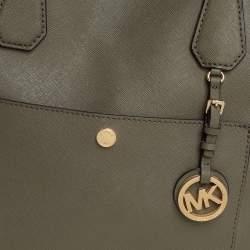 Michael Kors Green Saffiano Leather Greenwich Tote