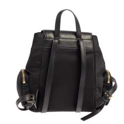 Michael Kors Black Nylon and Leather Small Cargo Abbey Backpack