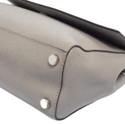 Michael Kors Grey Leather Medium Ava Top Handle Bag
