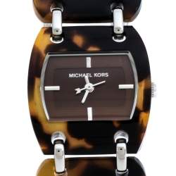 Michael Kors Brown Tortoise Acetate Stainless Steel MK4178 Women's Wristwatch 26 mm