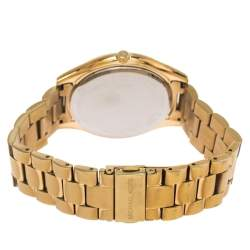 Michael Kors Yellow Gold Tone Stainless Steel Slim Runway MK3590 Women's Wristwatch 42 mm