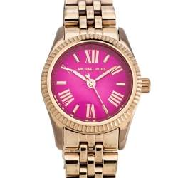 Michael Kors Pink Rose Gold Tone Stainless Steel Lexington Petite MK3285 Women's Wristwatch 26 mm