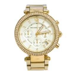 Michael Kors Yellow Gold Tone Stainless Steel Parker MK5354 Women's Wristwatch 39 mm