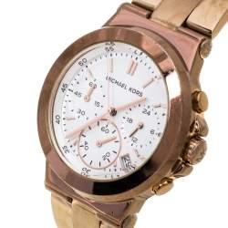 Michael Kors White Rose Gold Tone Stainless Steel Runway MK5223 Women's Wristwatch 38 mm