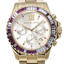 Michael Kors Baguette Crystals Gold Tone Stainless Steel Everest MK5871 Women's Wristwatch 41MM