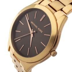Michael Kors Brown Rose Gold Plated Steel Runway MK3181 Women's Wristwatch 42 mm