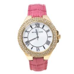 Michael Kors Opaline White Gold Tone Stainless Steel Leather Slim Camille MK2329 Women's Wristwatch 41 mm