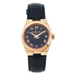 """ساعة يد نسائية مايكل كورس """"شانينغ إم كيه2358"""" جلد و ستانلس ستيل ذو لون ذهبي وردي سوداء 33 مم"""