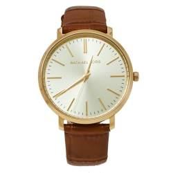 Michael Kors Champagne Gold Tone Stainless Steel Leather Jaryn MK2496 Women's Wristwatch 38 mm