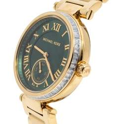 Michael Kors Green Yellow Gold Plated Steel Skylar MK6065 Women's Wristwatch 41MM