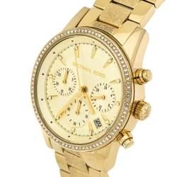 """ساعة يد نسائية مايكل كورس """"ريتز كرونوغراف إم كيه6597""""ستانلس ستيل ذهبي اللون 37 مم"""