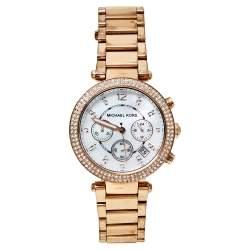 ساعة يد نسائية مايكل كورس باركر أم كيه5491 ستانلس ستيل لون ذهب وردي صدف 39 مم