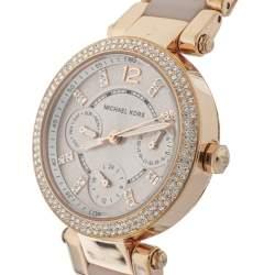 ساعة يد نسائية مايكل كورس باركر ميني أم كي6110 ستانلس ستيل لون ذهب وردي 33 مم