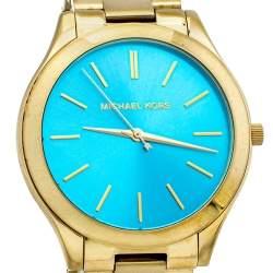 ساعة يد نسائية مايكل كورس رانواي أم كيه3265 ستانلس ستيل لون ذهبي زرقاء 42 مم