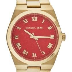"""ساعة يد نسائية مايكل كورس """"إم كيه5936"""" ستانلس ستيل ذهبي اللون حمراء مرجانية 38 مم"""