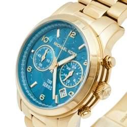 Michael Kors Blue Gold Tone Stainless Steel Watch Hunger Stop MK5815 Women's Wristwatch 38 mm