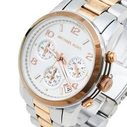 Michael Kors Silver Two Tone Stainless Steel Chronograph MK5315 Women's Wristwatch 38 mm