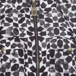 Michael Michael Kors Monochrome Geometric Print Zip Front Long Sleeve Blouse M
