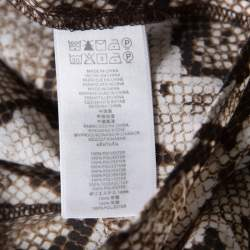Michael Michael Kors Brown and White Python Scale Printed Zip Front Blouse M