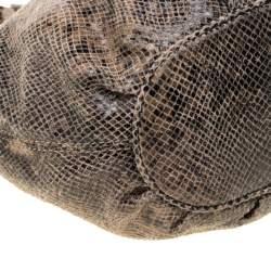 Michael Michael Kors Beige/Black Monochrome Python-Embossed Leather Tassel Hobo