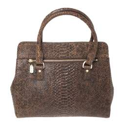 MICHAEL Michael Kors Brown Python Embossed Leather Large Astrid Satchel