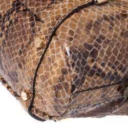 MICHAEL Michael Kors Brown Python Effect Suede Satchel