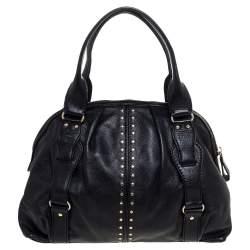 Michael Michael Kors Black Leather Studded Bedford Satchel