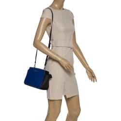 MICHAEL Micheal Kors Blue/Black Leather Small Selma Crossbody Bag