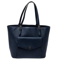 MICHAEL Michael Kors Navy Blue Leather Front Pocket Tote
