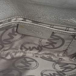 MICHAEL Michael Kors Metallic Silver Leather Buckle Detail Flap Clutch