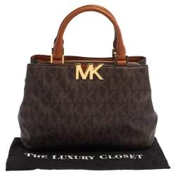 MICHAEL Michael Kors Brown Signature Coated Canvas and Leather Florence Satchel
