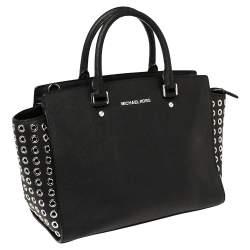 Michael Michael Kors Black Leather Large Selma Eyelet Satchel