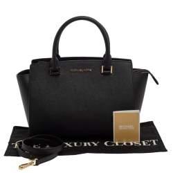 Michael Michael Kors Black Leather Medium Selma Satchel
