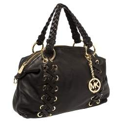 MICHAEL Michael Kors Dark Brown Leather Braided Handle Satchel