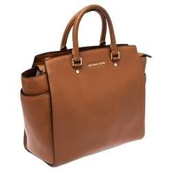 MICHAEL Michael Kors Brown Saffiano Leather Large Selma Tote