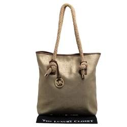 MICHAEL Michael Kors Gold/Beige Shimmer Canvas Knotted Handle Tote